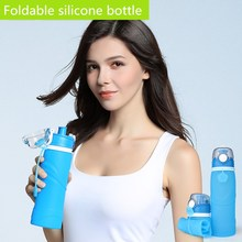 Collapsible Water Bottle, Folding Silicone Water Sport Bottle, BPA Free, Leak Proof, Travel Outdoor Water Bottle Free shipping