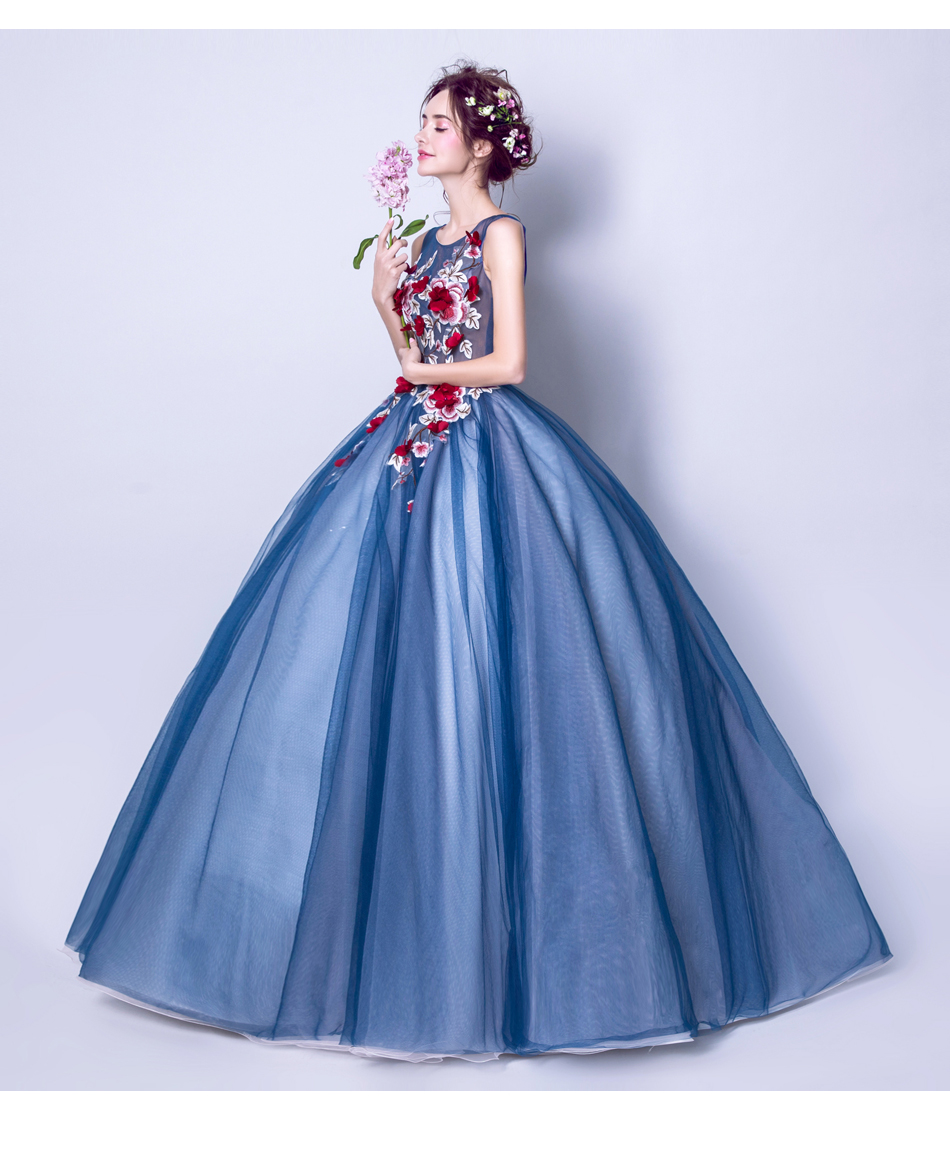 Angel Wedding Dress Marriage Evening Bride Party Prom Bridal Gown Vestido De Noiva Blue camouflage, fantasy flowers 2017 7572 13