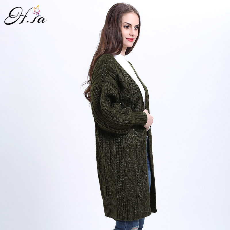 H.SA 2017 Women Long Cardigans Autumn Winter Open Stitch Poncho Knitting Sweater Cardigans V neck Oversized Cardigan Jacket Coat 23