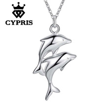 2018 Super Deal Sea animal Fan ocean souvenir retail silver pendant necklace Fashion double Dolphin animal Charm Necklace(China)