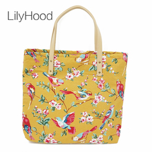 LilyHood 2017 Women Canvas Big Printing Tote Bags Vintage Large Top-Handle Fabric Shopper School Overnight Beach Shoulder Bag(China)