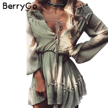 BerryGo Off shoulder long sleeve beach summer dress Short chiffon vintage dress women Ruffle sexy dress vestido de festa(China)