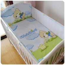 Promotion! 6PCS crib bumper baby cot sets baby bed bumper ( summer bumper+sheet+pillow cover)(China)
