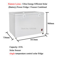 433L Solar Freezer Ultra Energy Efficient Solar Battery Powered Fridge Freezer Combined Refrigerator