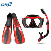 Copozz Brand Professional Snorkels Scuba Diving Mask Goggles Glasses Diving Swimming Fins Flippers Set