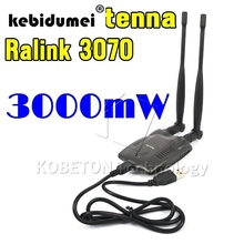 kebidumei 2017 New USB 2.0 Wireless BT-N9100 Beini free internet High Power 3000mW Dual OMNI Antenna Wifi Adapter Ralink 3070(China)