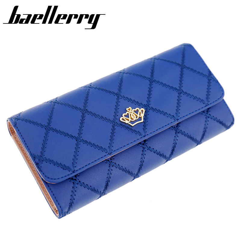New 2017 Fashion High-Capacity Women Wallets Lingge Metal Crown Lady Long Clutch Wallet High Quality Purse For Women<br><br>Aliexpress