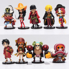 9pcs/lot Japanese Anime One Piece Film Z Luffy Zoro Sanji Franky Nami Robin Chopper Q Version PVC Figure Toys Free Shipping