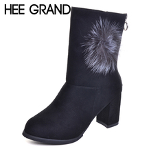 HEE GRAND 2017 New Arrival Fashion Boots Woman Suede High Heels Winter Shoes Zipper Women Ankle Boots  XWX5925