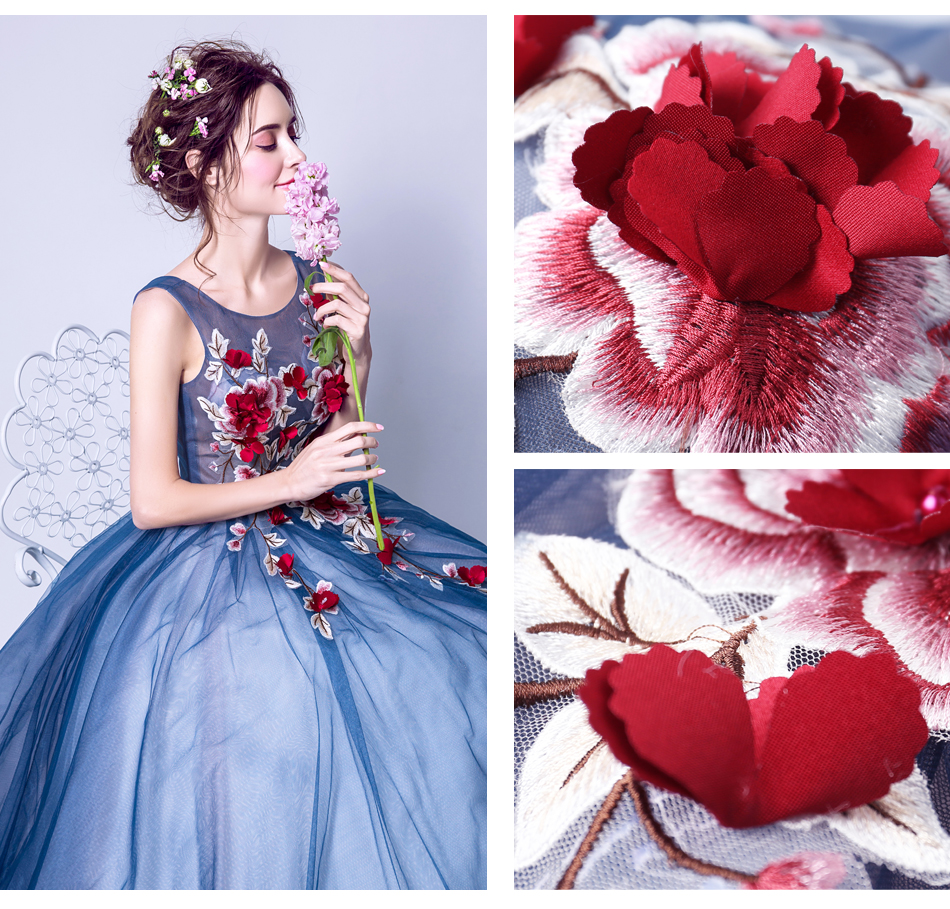 Angel Wedding Dress Marriage Evening Bride Party Prom Bridal Gown Vestido De Noiva Blue camouflage, fantasy flowers 2017 7572 11