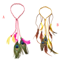 2 style Bohemian Braid Weave Tassels Hairband Carnival Headdress Hippie Indian Feather Headband Bonfire Party Hair Accessories