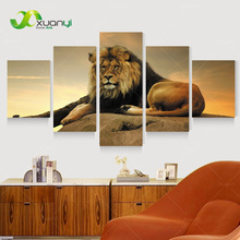 5 Panel Wall Art Lion Painting Canvas Wall Art Picture Modern Painting Home Decor For Living Room Canvas Print Unframed PR1181