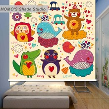 MOMO Blackout  Window Curtains Roller Shades Blinds Thermal Insulated Fabric Custom Cartoon Baby , Alice 351-355