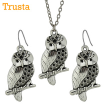 "Trusta Fashion Vintage Silver Owl Pendant Women Jewelry Set Earring/Short Necklace 18""  Free Drop Shipping Wholesale Lot DY71"