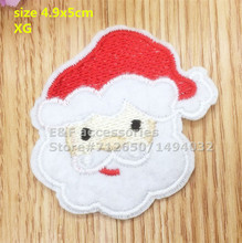 New arrival 10 pcs Father Christmas head Embroidered patches iron on cartoon Motif Applique XG embroidery accessory 151106