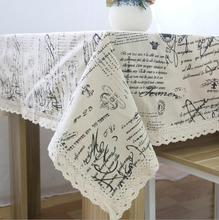 New Arrival Table Cloth European letters printed High Quality Cotton Lace Universal Tablecloth Decorative Table Cover Hot Sale