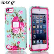 Multi Colors Impact Hard PC & TPU beautiful flowers Hybrid Shockproof Back Case Cover For iPod Touch 5 5th Generation