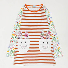 New Arrival Autumn Cotton Princess Girl Dresses 2017 Long Sleeves Fancy Costume Rabbit Pattern Stripe Girls Dresses Kids Clothes