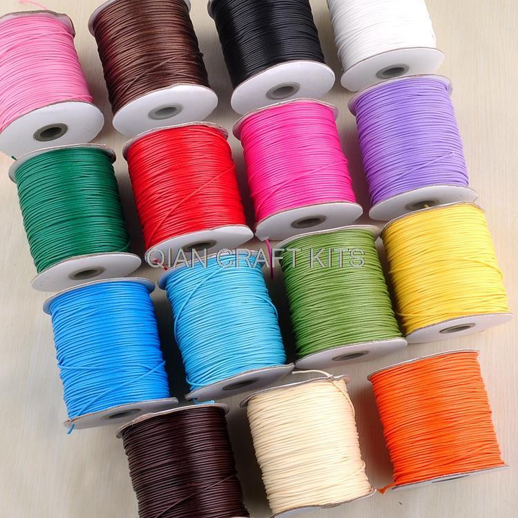 300 yards mixed colors and mixed sizes (1mm-2mm) cotton Waxed Cord cords display