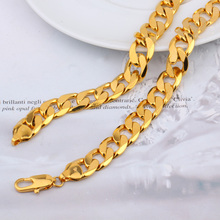 "POP Deluxe Men's 79g 23.6""12mm 24k solid gold GF curb link chain necklace FREE SHIPPING(China)"