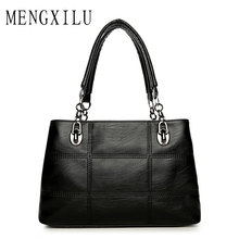 Big Women Bags Handbags Women Famous Designer Plaid Women Leather Handbags 2017 Luxury Ladies Hand Bags Shoulder Fashion Sac(China)