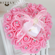 Trendy Heart Shape Ring Pillow Cushion with Rose Flowers Bowknot Ribbons Rhinetone Pearls Gift Ring Box for Bridal Wedding Favor