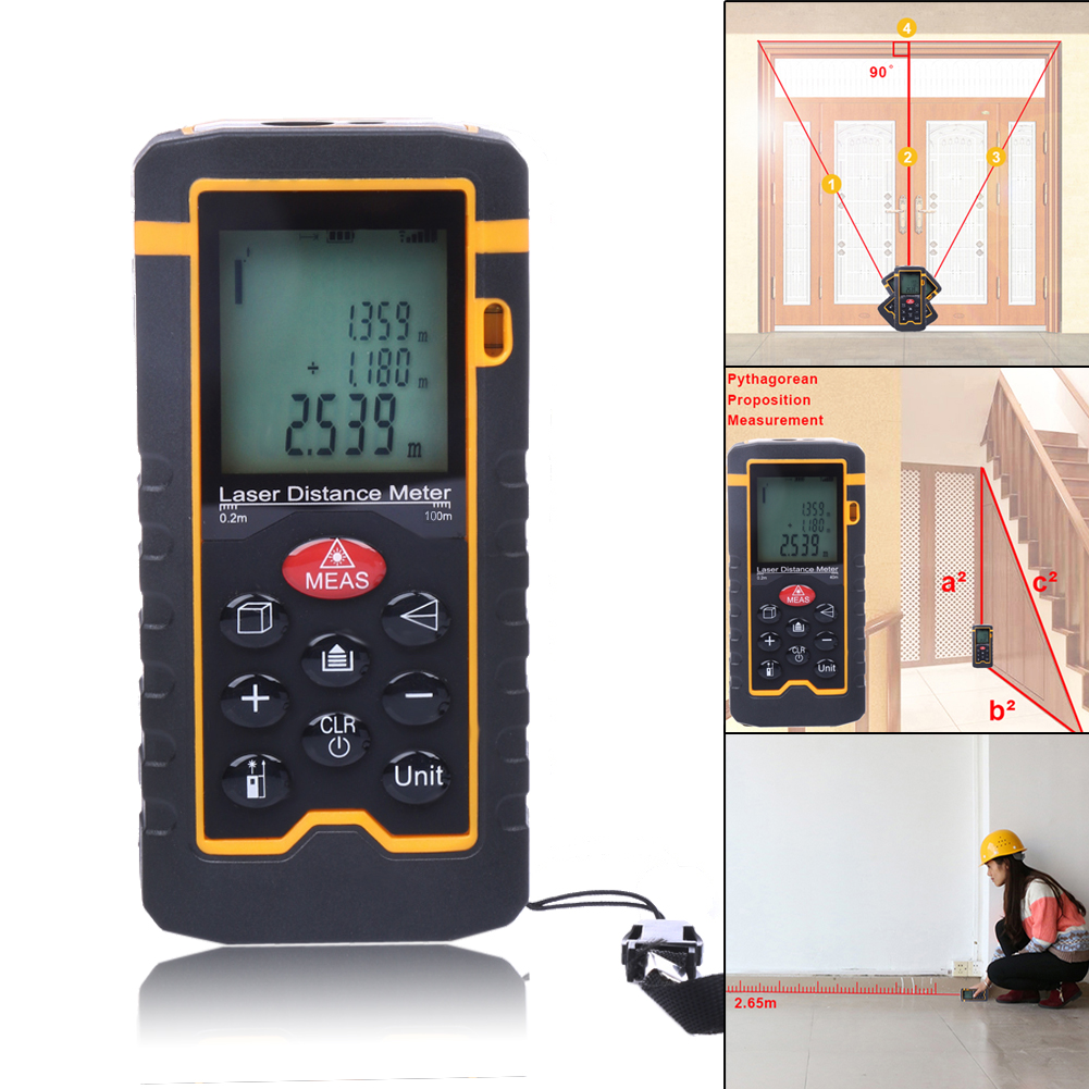 Laser Distance Meter100M/328ft/3937 Rangefinder Digital Laser Tape Range Finder Trena Ruler Build Measure Area/Volume Ruler<br>