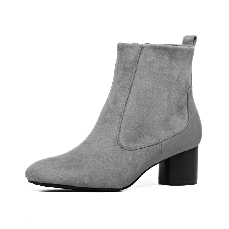 New autumn winter women ankle star short boots shoes woman casual round toe thick Med heel side zipper black gray size 35-40<br><br>Aliexpress
