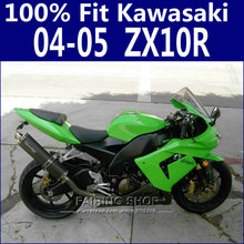 100%New Zx10r 2004 2005 04 05 Fairings For Kawasaki Ninja Fairing kit Green +EMS Free x25