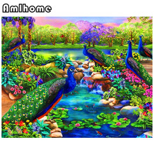 AMLHOME Diy Diamond Painting Cross Stitch Full Embroidery Peacock Playing 3d Mosaic Square Diamonds Rhinestone Needlework