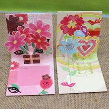 (16 pieces/lot)Free Shipping Exquisite Holiday Small Message Cards Promotional Gift Ideas Dimensional Flower Greeting Cards