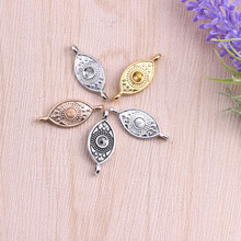 Buy 50pcs Gold/Silver Plated Zinc Alloy Evil Eye Connector Charms Pendants Jewelry Making DIY Handmade Craft 28x12mm for $12.24 in AliExpress store