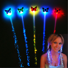 2pcs LED Light Fiber Braided Wig LED Colorful Flash Butterfly Headdress Luminous Hair Braids Hairpin Party Club Decorations