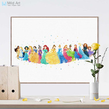 Watercolor Modern Cartoon Movies Princess Snow Alsa Canvas Art Print Poster Wall Pictures Girl Kids Room Decor Painting No Frame(China)