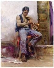 Hand-painted Pino Oil Paintings reproduction on Canvas Impression people wall art for Living Room Music Lover 30x24