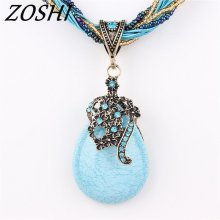 ZOSHI Statement Choker Vintage Charms Collar Natural Stone Pendant Rhinestone Crystal Necklace Women Jewelry Colares 7 color