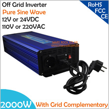 2000W DC12V/24V AC110V/220V, Off Grid Pure Sine Wave Solar or Wind  Inverter, City Electricity Complementary Power Inverter