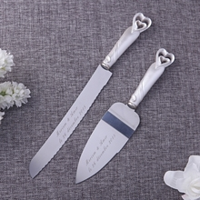 Personalized Cake Knife And Server,Stainless Steel Wedding Party Cake Accessory,Heart Design Customized Wedding Gift With Box(China)