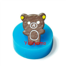 Free shipping Q126YL Chocolate Bear Cookie Silicone Push Mold - Chocolate Biscuit Bakeware Molds, Silicone Soap Mold Food Safe