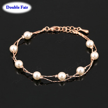 Anti Allergy Charm Bracelets & Bangles For Women Rose Gold Color Fashion Brand Vintage Simulated Pearl Beads Jewelry DWH169