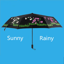 Flower Pocket Umbrella Three Folding UV-Protection Travel Umbrellas Water Changing Color After Water Gift for Lovers