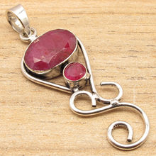 Silver Overlay Red rubi 2 Gemset Pendant WOMEN'S LADIES' GIRLS' MEN'S UNISEX