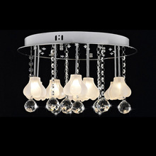 Crystals Glass Flower Dining Room LED Ceiling Light Stainless steel Living/Study Room Glass Elegant Ceiling Lighting Fixtures(China)