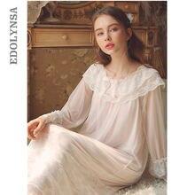 a4773b0fba Lace Ruffled Vintage Princess Sleepwear Women Long Nightgown Autumn  Nightwear Thin Soft Home Wear Sleep Shirt