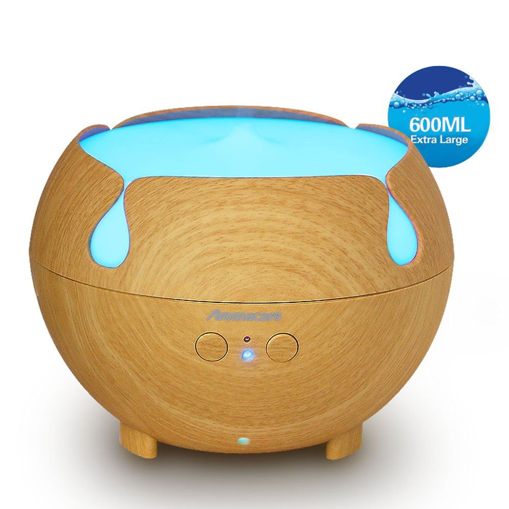 Aromacare Ultrasonic Essential Aromatherapy Diffuser 600ml Scent Diffuser Machine Cool Mist Humidifier Wood Grain Diffuser<br>