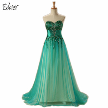 Backless Long Green Evening Dresses 2017 A Line Sweetheart Beading Diamond Prom Dress Arabic Prom Evening Gown Vestido De Festa(China)