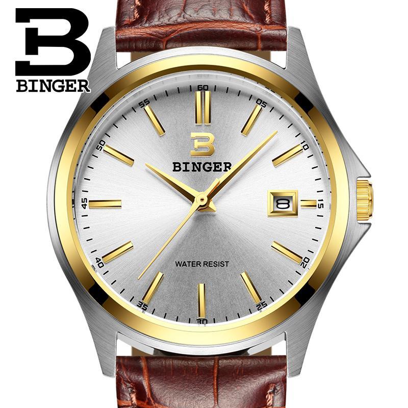 2017 Switzerland luxury mens watch BINGER brand quartz clock full stainless Wristwatches Waterproof Complete Calendar B3052A10<br>