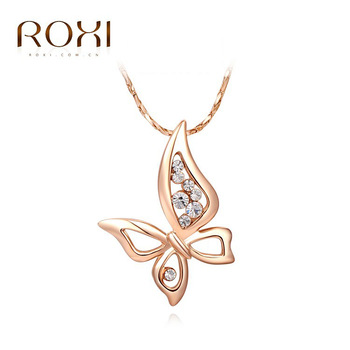 ROXI Brand New Butterfly Pendant Fashion Rose Gold Color Chain Calabash Sales Lucky Necklace Women Party Wedding Bridal Jewelry