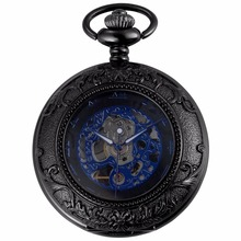 Royal Roman Steampunk Blue Gun Tone Movement Hand Winding Relogio Clock Jewel Chain Fob Pendant Mechanical Pocket Watch /WPK204