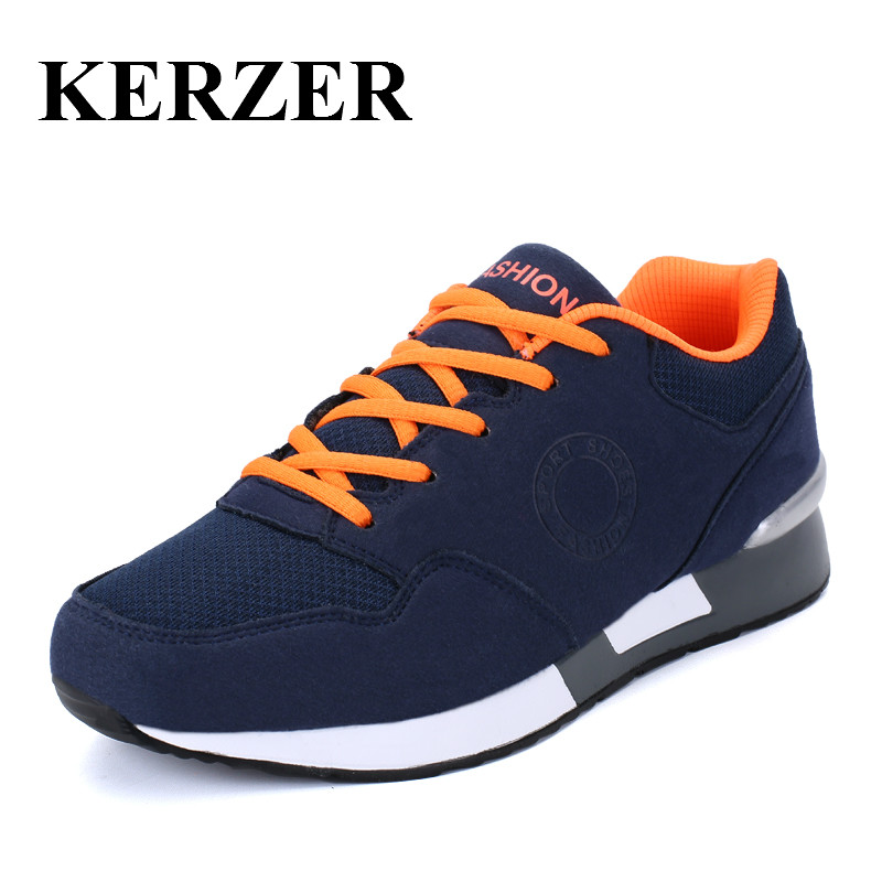 KERZER Sports Shoes Men Women Breathable Leather Athletic Shoes Large Size Man Running Sneaker Spring Autumn Couples Shoes<br>